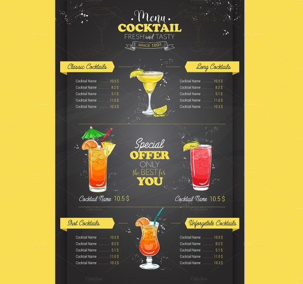 18 vintage menu templates free psd ai vector eps for Drink menu template microsoft word