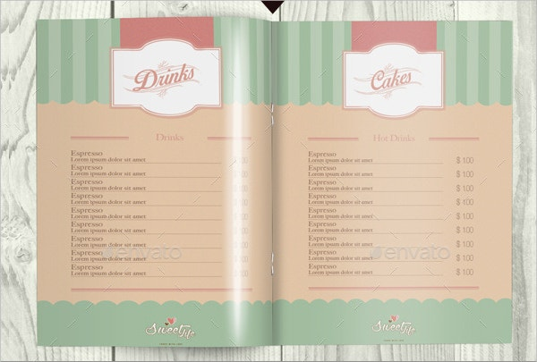vintage cafe menu template