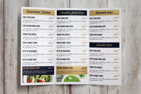 vintage food menu template
