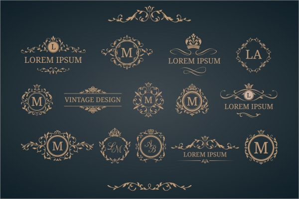 monogram vintage label templates