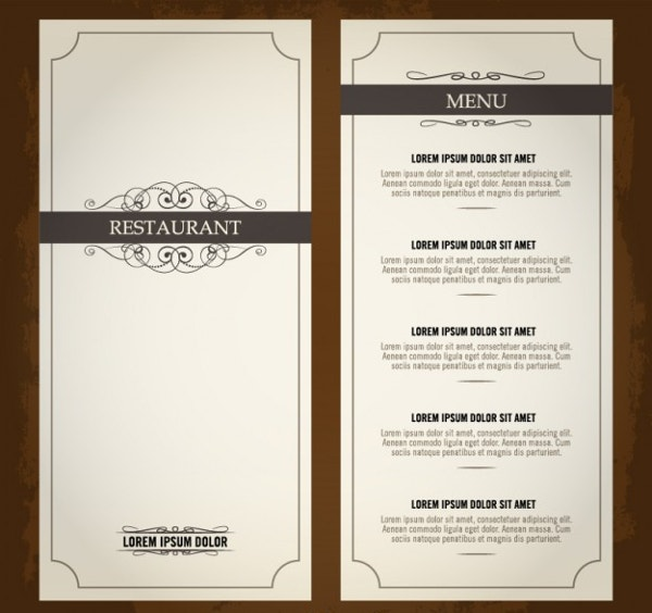 vintage menu template free vector