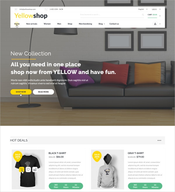 Multipurpose eCommerce Furinture PSD Theme $12