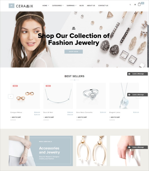 Beautiful Jewellery, Accessories eCommserce Theme $65