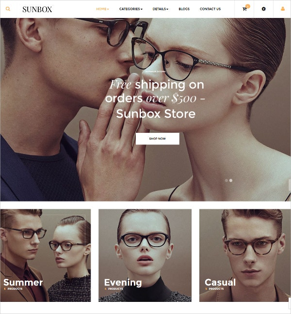Responsive Sunglasses Prestashop eCommerce Theme $70