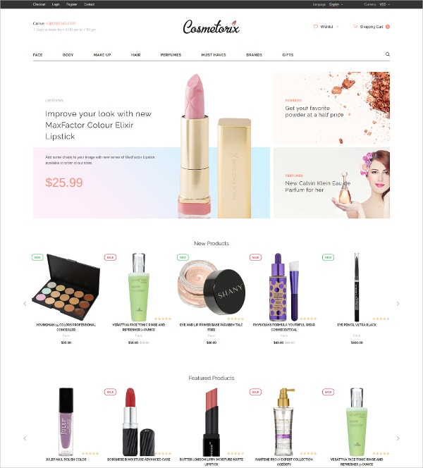 Cosmetic OpenCart eCommerce Template $79