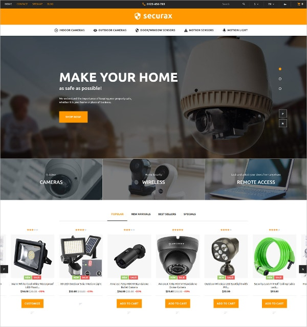 Responsive Security Systems eCommerce PrestaShop Theme $139
