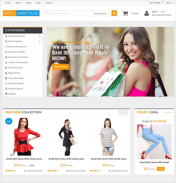 Responsive eCommerce HTML Template $19