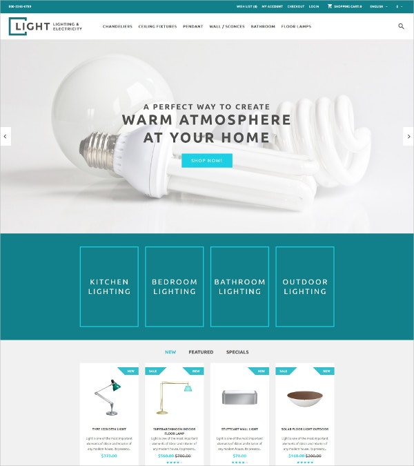 Lighting & Electricity OpenCart eCommerce Template $89