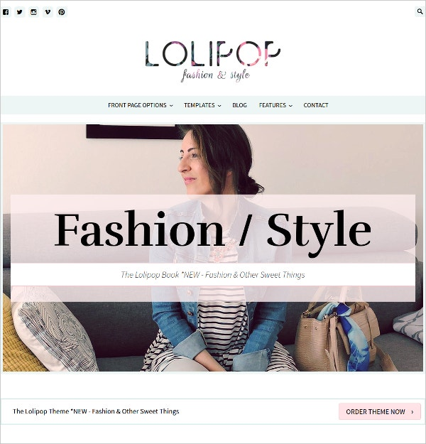 Fashion Blog WordPress eCommerce Theme $60