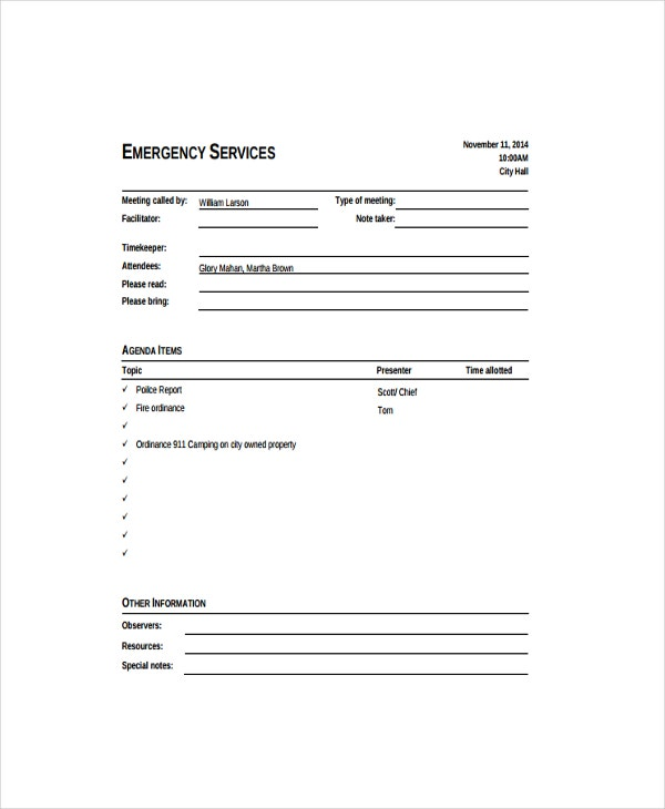 Emergency Informal Meeting Agenda Template