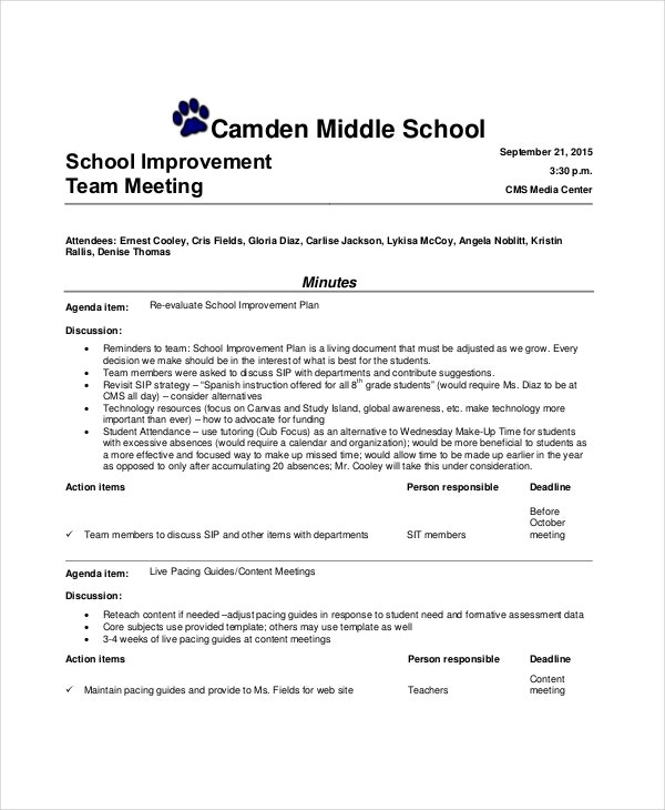 School Improvement Informal Team Meeting Agenda