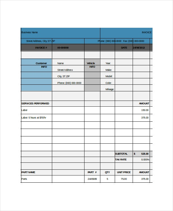 Repair Invoice Template   Free Word Excel Pdf Documents