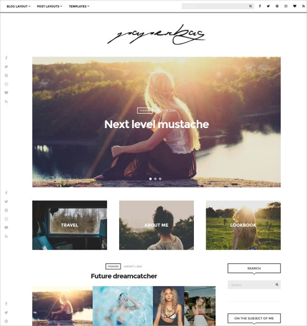 Minimal Lifestyle Blog Theme $49