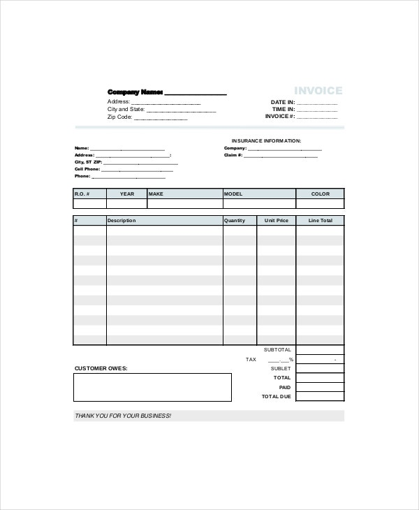 Repair Invoice Template 12 Free Word Excel Pdf