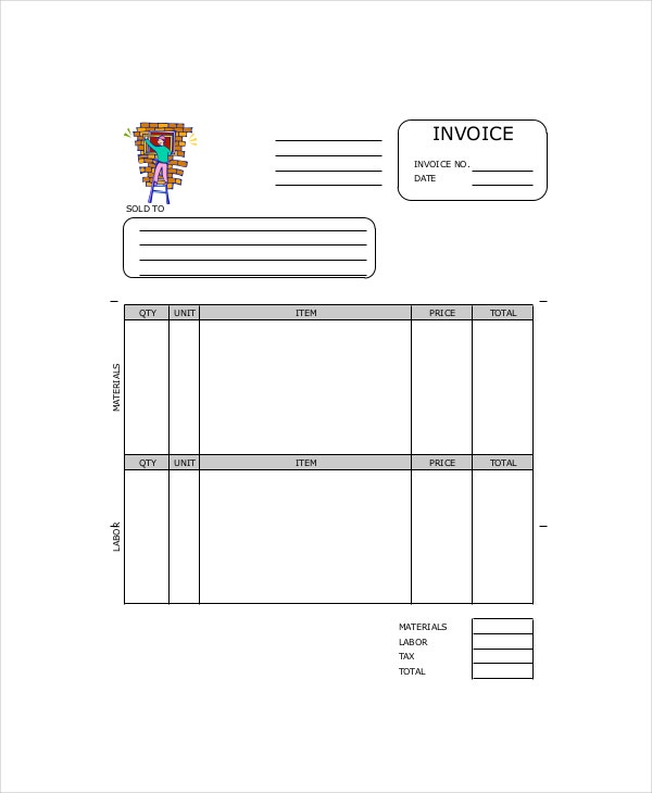 Window Repair Invoice Template