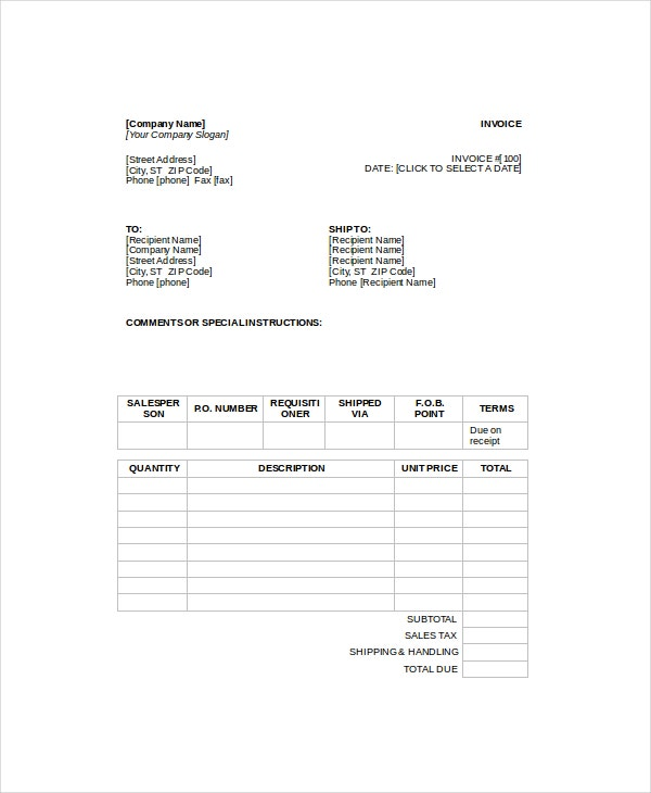 Repair Service Invoice Template