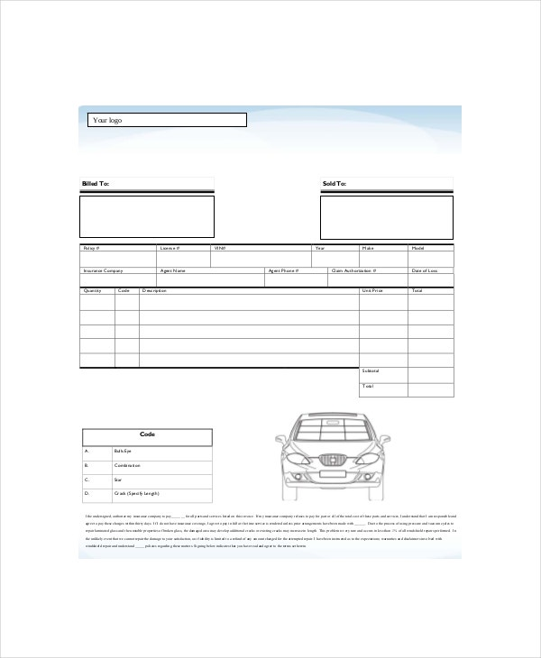 Repair Invoice Template Free Word Excel PDF Documents - Repair invoice template