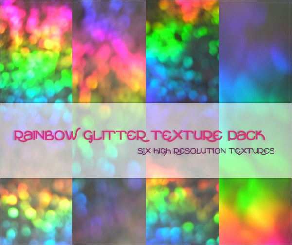 Set of Rainbow Glitter Texture