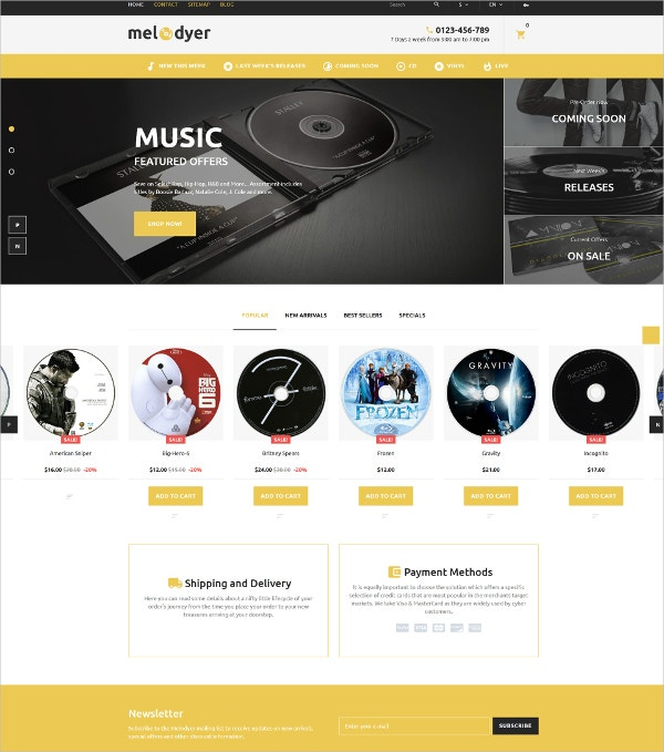Music & Audio Store Blog PrestaShop Theme $139