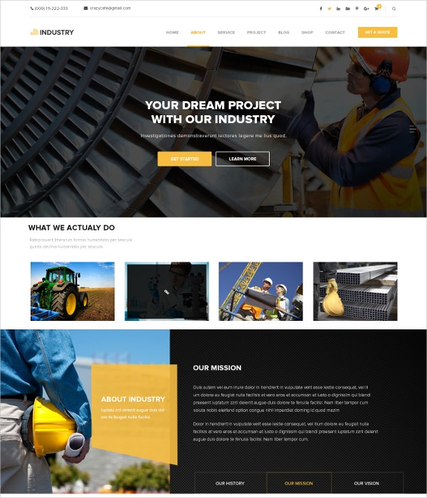 Corporate Industrial PSD Blog Template $12