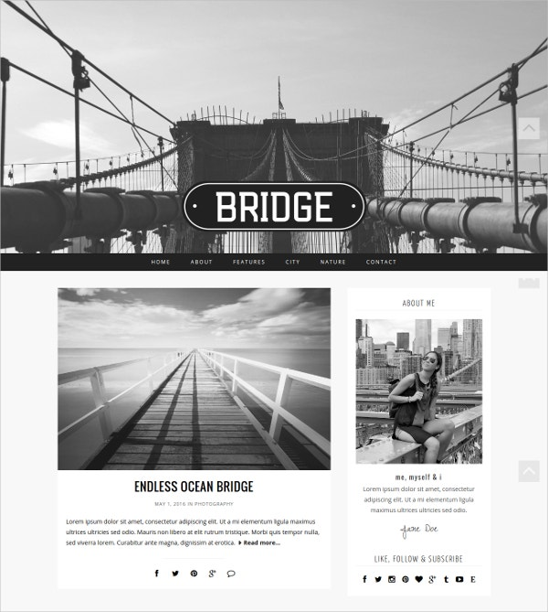 Modern Photographer WordPress Blog Theme $35