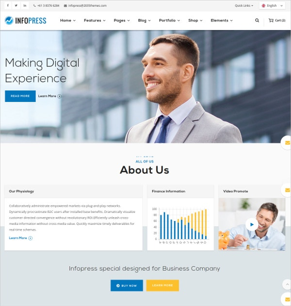Modern Business HTML5 Blog Template $18