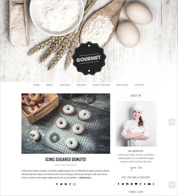 Cooking & Baking WordPress Blog Theme $35