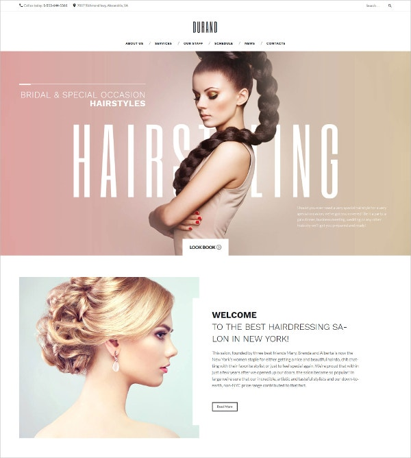 Hair Salon WordPress Blog Theme $75