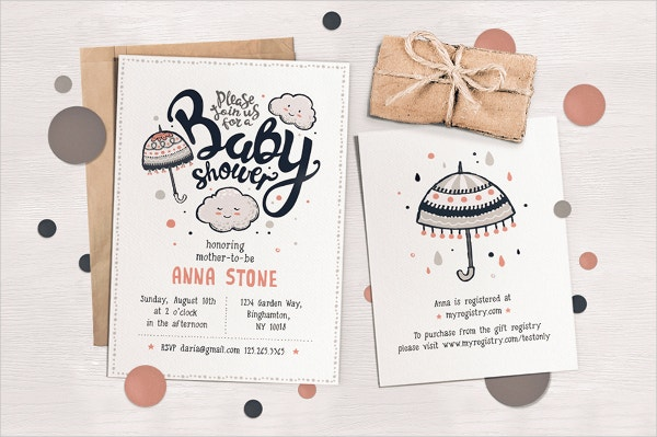 Folded Baby Shower Invitation Template