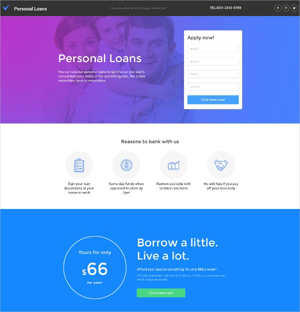 Business & Personal Loans Moto CMS Template $199