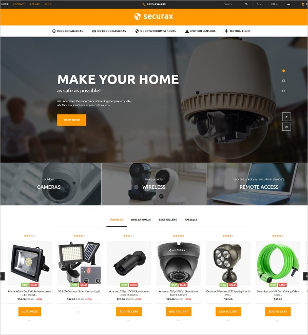 Security Systems Blog PrestaShop Theme $139