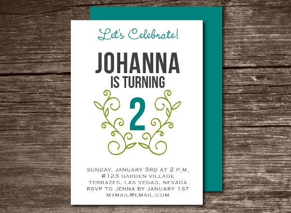 Folded Birthday Invitation Template