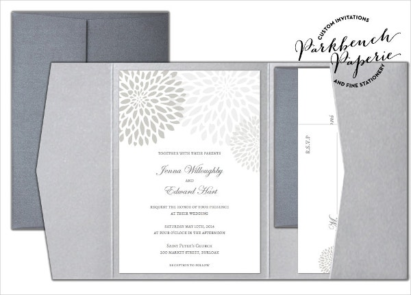 Folded Wedding Invitation Instant Download