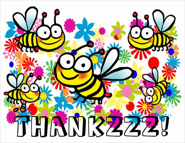 Funny Cute Cartoon Bees Thank You Card