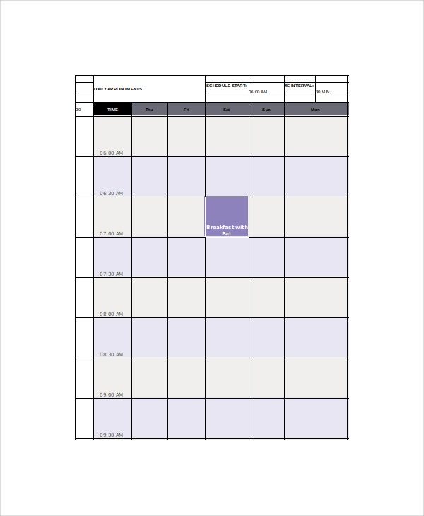 Appointment Calendar Template - 7+ Free Word, Excel, Pdf Documents