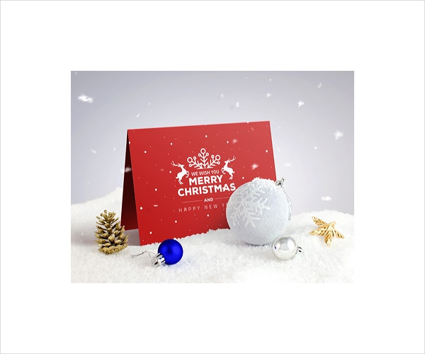 Folded Christmas Invitation Card Template