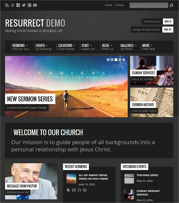 Urban Inspired WordPress Theme For church Website