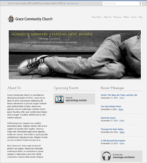 Free Stylish Church Website Theme
