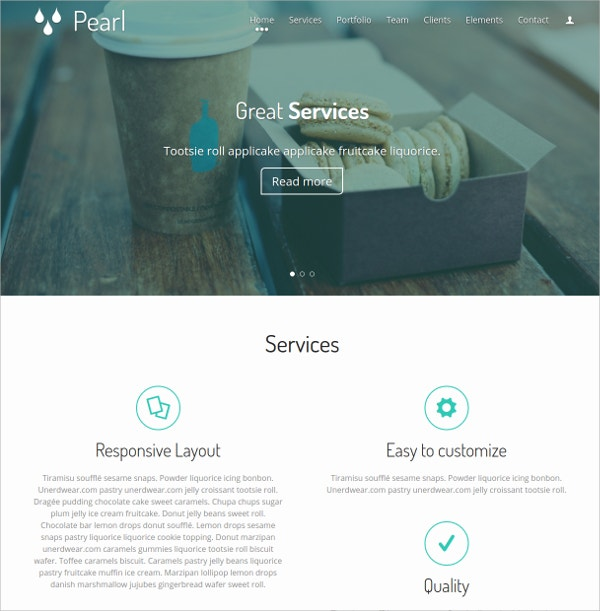 Services One Page Website Template $7