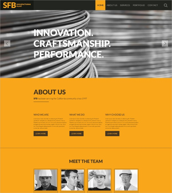 Industrial Manufacturing One Page Website Template $75