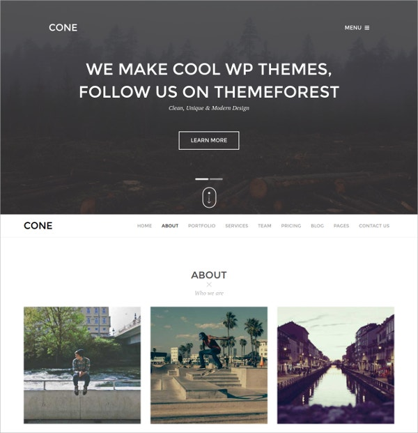 Company One Page WordPress Website Theme $44