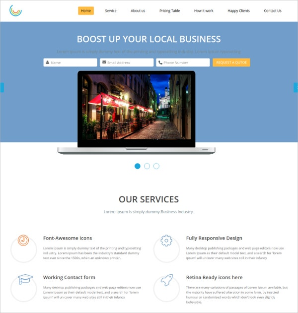 Corporate Responsive One Page HTML Website Theme $7
