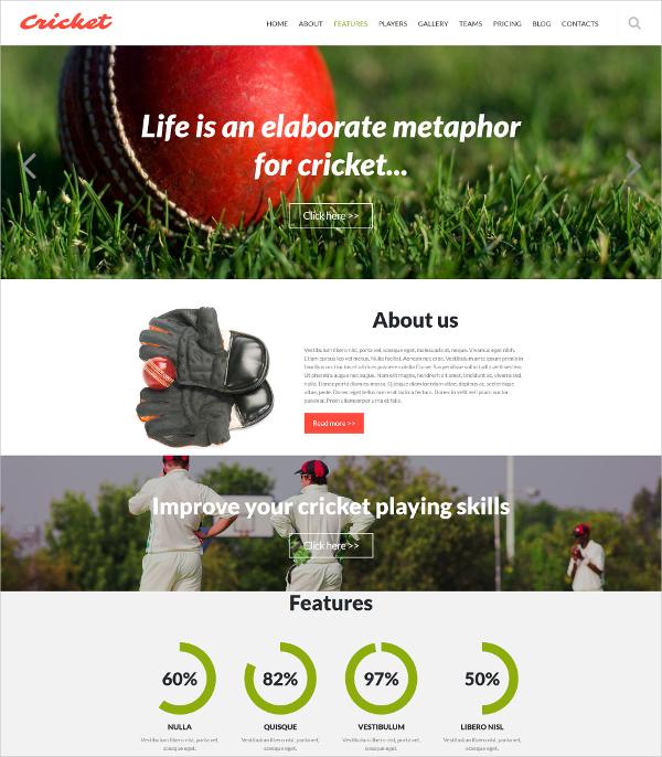 Cricket Club Joomla Website Template $75