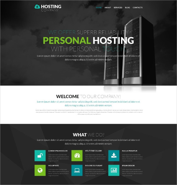 Personal Hosting One Page WordPress Website Theme $75