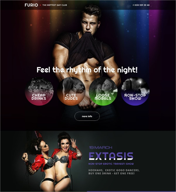 Night Club Party One Page Website Template $14