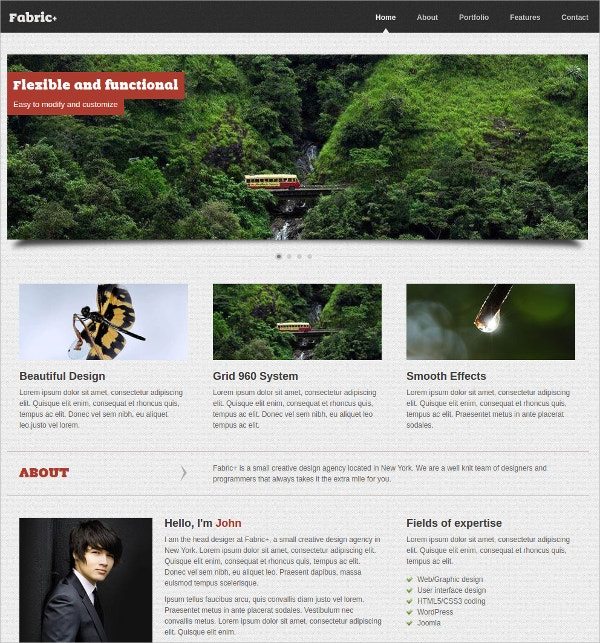 Minimalist One Page Portfolio Website Theme $25