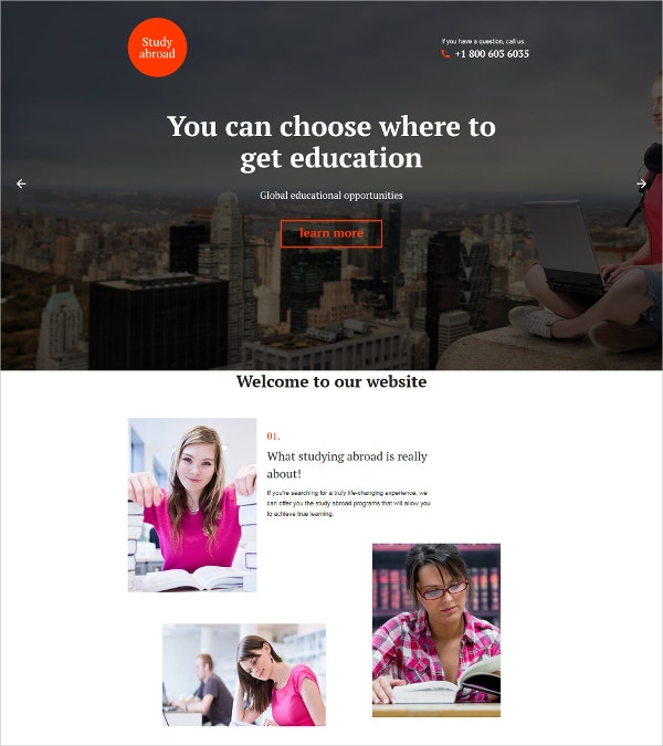 Global Education One Page Website Template $14