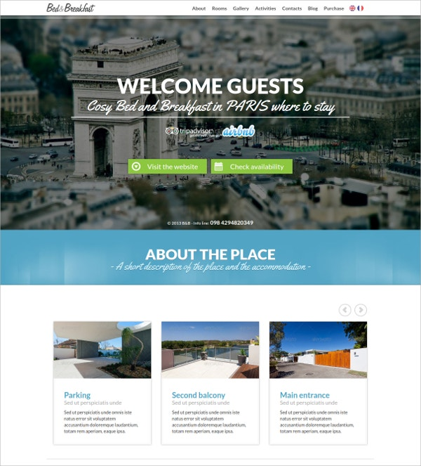 Accommodation Single Page WordPress Website Theme $44