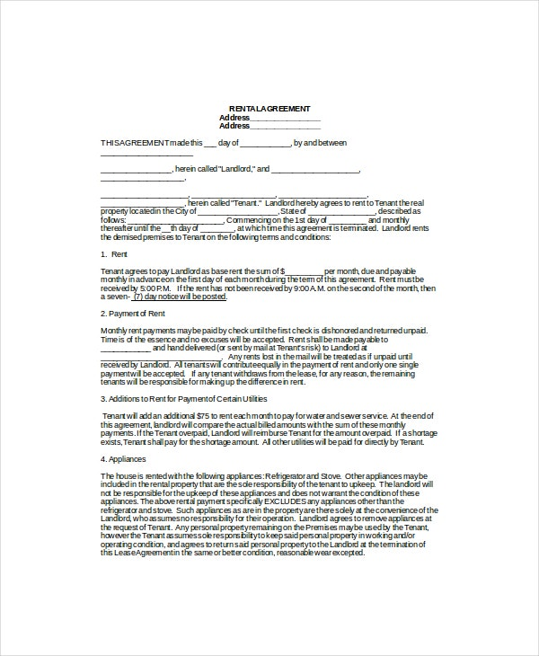 rental lease agreement templates