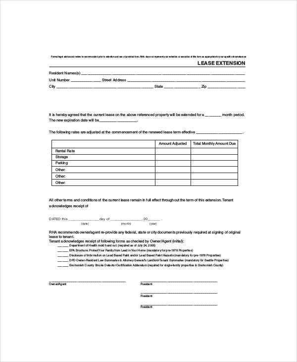 rental lease extension template